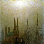 Friedrich, Caspar David. Night at the harbor, Caspar David Friedrich