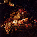 Bogdany Jakob Still Life Of Grapes A Halved Peach And Cherries Resting On A Table With A Parrot, Венгерские художники