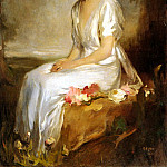 Hungarian artists - Halmi Arthur Lajos Portrait Of An Elegant Young Woman In A White Dress