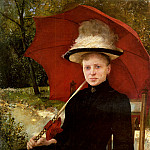 Hungarian artists - Knopp Imre The Red Parasol