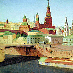 view Moskvoretsky Bridge, the Kremlin and St. Basils Cathedral., Arhip Kuindzhi (Kuindschi)