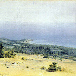 View on the beach and sea from the mountains. Crimea, Arhip Kuindzhi (Kuindschi)
