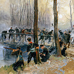 Château de Versailles - Jean Baptiste Edouard Detaille -- Surprise near a bridge. Episode of the Siege of Paris, 1870-1871