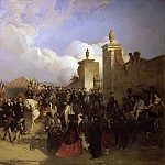 Château de Versailles - Jean-Adolphe Beaucé -- Arrival of the French Military Expedition in Mexico City on June 10, 1863. General Forey receives the keys of the city from the prefect Azcaraste (Entrée du corps expéditionnaire)