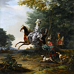 Louis-Auguste Brun -- Marie-Antoinette Hunting with Dogs, followed by Louis XVI, Château de Versailles