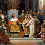 Jules Laure -- Charlemagne, surrounded by his most important officials, receives Alcuin who presents several manuscripts, the works of his monks, to the Emperor in 780 CE, Château de Versailles