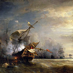 Château de Versailles - Théodore Gudin -- Naval combat off Cape Lizard in Cornwall, 21 October 1707, won by the French fleet commanded by DuGuay-Trouin and Admiral de Forbin against five English war vessels