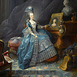 Jean-Baptiste André Gautier-Dagoty -- Marie-Thérèse of Savoy, Comtesse d'Artois, before the Portrait of her Mother Marie-Antoinette-Ferdinande Queen of Sardinia-Piedmont and a Bust of her Husband the Comte d'Artois, Château de Versailles