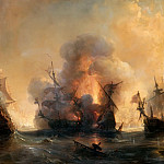 Théodore Gudin -- Attack of the English Fleet by Comte de Tourville and Jean Bart at Smyrna, 27 June 1693 , Château de Versailles