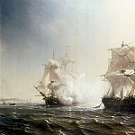 Théodore Gudin -- Naval Combat between the French Frigate, Embuscade, and the English Frigate, Boston, off the Coast of New York, 30 July 1793, Château de Versailles