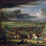 Adam Frans van der Meulen -- View of the Army of the King marching on Courtray, which was taken 18 July 1667, Château de Versailles