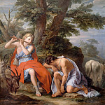 René-Antoine Houasse -- Mercury Playing the Flute to put Argus the Shepherd to Sleep so that he can steal the Nymph Io who has turned into a cow, whom Argus is guarding, Château de Versailles
