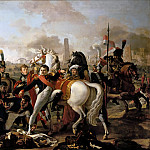 Claude Gautherot -- Napoleon Dismounting with an injured Foot at Regensburg, aided by the Surgeon, Yvan, April 23, 1809, Château de Versailles