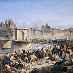 Amédée Bourgeois -- Attack on the Hotel de Ville and Combat on the Pont d'Arcole, July 28, 1830, Château de Versailles
