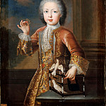 Pierre Gaubert -- Portrait of Francis III of Lorraine, future Emperor Francis I as a Child, holding a Butterfly and Leaning against a Cage containing two Doves , Château de Versailles