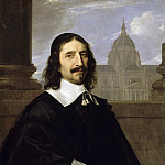 Jacques Lemercier, Architect; shown in front of a view of the chapel of the Sorbonne, Philippe De Champaigne