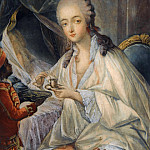 Jean-Baptiste André Gautier-Dagoty -- Madame du Barry at her toilette, to whom Zamor presents a cup of coffee or chocolate, Château de Versailles