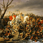 Charles-Barthélémy-Jean Durupt -- Lothar defeats Emperor Otto III on the banks of the Aisne, October 978, Château de Versailles
