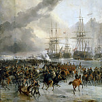 Charles Louis Mozin -- The French cavalry take the battle fleet caught in the ice in the waters of Texel, 21 January 1795, Château de Versailles