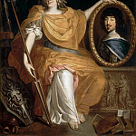 Pierre Bourguignon -- Anne-Marie-Louise d'Orléans, Duchess of Montpensier, La Grande Mademoiselle, as Minerva, Holding a Portrait of her Father, Gaston of France, Château de Versailles