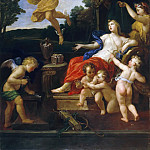 Château de Versailles - Bon Boullogne -- Venus at her Toilette and Mercury in the Air Holding the Golden Apple of Discord in his Hand