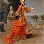 Château de Versailles - Pierre Gaubert -- Portrait of Marie-Adélaïde de Savoie, Duchesse de Bourgogne, Shown in her Hunting Costume near the Grand Canal of Fontainebleau