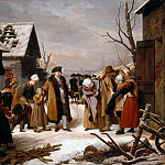 Louis Hersent -- Louis XVI Distributing Alms to the Poor of Versailles during the Winter of 1788, Château de Versailles