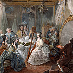 Château de Versailles - Jean-Baptiste André Gautier-Dagoty -- Marie Antionette Playing the Harp in her Room at Versailles