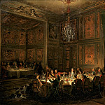 Michel Barthélemy Ollivier -- Supper of Prince de Conti at the Temple, 1766, Château de Versailles