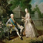 Jean-Baptiste Charpentier the Elder -- Louis-Jean-Marie de Bourbon, duc de Penthièvre, and his Daughter, Louise-Adelaïde, Mademoiselle de Penthièvre, the future duchesse of Orléans, in a Garden, Château de Versailles