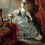 Jean-Baptiste André Gautier-Dagoty -- Marie Antionette in Court Clothes with her Hand on a Globe, Château de Versailles