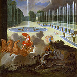 Jean Cotelle the younger -- View of the Basin of the Dragon and the ramp to the Basin of Neptune, with Apollo killing the serpent Python, Château de Versailles