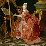 Etienne Aubry -- Madame Victoire, daughter of Louis XV, playing the harp, Château de Versailles