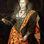 Château de Versailles - George Peter Alexander Healy, after a portrait attributed to Marcus Geeraerts the Younger -- Elizabeth I, Queen of England and Ireland in 1558, in ballet costume as Iris, known as the Rainbow Portrait