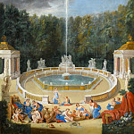 Château de Versailles - Jean Cotelle the elder -- View of the Grove of Domes, baths of Greek Gods in the gardens of Versailles