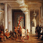 King Louis-Philippe, Queen Marie-Amélie and the Duchess of Orléans Attending a Dance by Iowa Indians in the Salon de la Paix at the Tuileries, Presented by the Painter George Catlin on 21 April, 1845, Karl Girardet