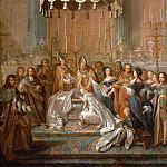Joseph Christophe -- Baptism of the Dauphin Louis, son of Louis XIV, celebrated in the court of the Old Chateau de Saint-Germain-en-Laye, March 24, 1668., Château de Versailles