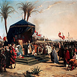 Jean-Marie-Oscar Gue -- Saint Louis Receives Robert, Patriarch of Jerusalem, who has come to aide the Army of Crusaders in the Siege of Damiette in June 1249, Château de Versailles