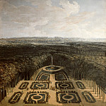 Charles Chatelain; formerly attributed to Etienne Allegrain -- View of the Gardens of the Grand Trianon from the Parterre bas, Versailles; Promenade of Louis XIV on the first level, promenade of Louis XV Dauphin with Duchesse de Ventadour along the outskirts on the second level, Château de Versailles