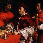 Raffaello - Portrait of Pope Leo X with Cardinals Giulio de Medici and Luigi de Rossi