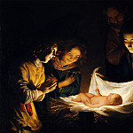 Gherardo delle Notti o Gheritt van Hontorst - Adoration of the Child