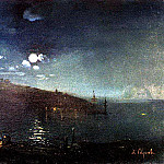 Moonlit Night. Landscape with fire. 1880-1890-e, Alexey Kondratievich Savrasov