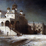 Alexey Kondratievich Savrasov - Cathedral Square in the Moscow Kremlin at night. 1878