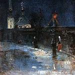 going to church. Frosty night. 1880-1890-e, Alexey Kondratievich Savrasov