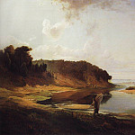 Alexey Kondratievich Savrasov - Landscape with a river and a fisherman. 1859