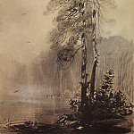 Alexey Kondratievich Savrasov - pines on the shore of the lake. 1880-1890-e