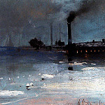 ice. Landscape with the factory. 1880-1890-e, Alexey Kondratievich Savrasov