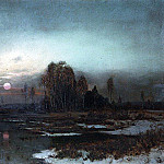 Alexey Kondratievich Savrasov - Autumn landscape with marshy river by moonlight. 1871