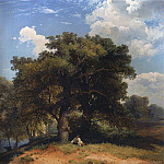 Alexey Kondratievich Savrasov - Landscape with oak trees and a shepherd. 1860