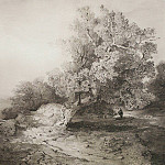 old oak tree near the cliff above the River. 1857, Alexey Kondratievich Savrasov